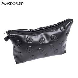 $enCountryForm.capitalKeyWord Australia - PURDORED 1pc Skull Cosmetic Bag Women Fashion Leather Travel Cosmetic Bag Solid Color Makeup Case Organizer Dropshipping