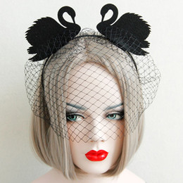 Wholesale swan black for sale - Group buy Black Swan Headband with Netted Veil Halloween Accessories for Girls Bar Dance Party Performance Hair Accessories