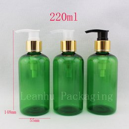shampoo bottle gold Australia - 220ml x 20 round green screw lotion pump plastic bottle ,gold lotion pump shampoo container, pack gel round lotion bottles
