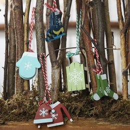 wholesale ski suits Australia - 5Pcs Lot Skiing Suit Christmas Pendant Xmas Tree Hanging Decorative Ornaments Holiday Party Decor Enfeites Natalino Decor Hogar