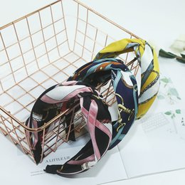 Articles Hair Australia - Vintage fabric art wide side hair band cross knotted face wash band hair band color matching printed chain articles hair accessories wholesa
