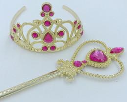 $enCountryForm.capitalKeyWord Australia - 100set Heart Crystal Headbands Gold Luxury Princess Crown Tiaras Twinkle Frozen +Magic Wand for Baby Girls Cosplay Party Halloween Day Gift