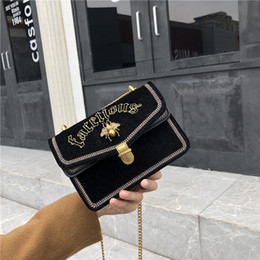 $enCountryForm.capitalKeyWord NZ - 1Velvet Small Square Package Woman Bees Embroidery Small Square Package Chain Single Shoulder Satchel