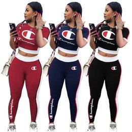 Campeones de las mujeres carta chándal remiendo de la raya de manga corta camiseta pantalones leggings 2 unids conjunto traje CHAMP ropa deportiva traje ropa nueva C412 en venta