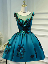$enCountryForm.capitalKeyWord Australia - Scoop Sleeveless Satin Beautiful Dresses for Prom with Handmade Flowers Lace Applique Teal Homecoming Dress Open Back Tea Party Dresses