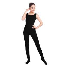 Army Women Costumes NZ - Ensnovo Women Unitard Lycra Spandex Dance Costumes Gymnastics Yoga Suit Sleeveless Footed Jumpsuits Black Unitard Bodysuit