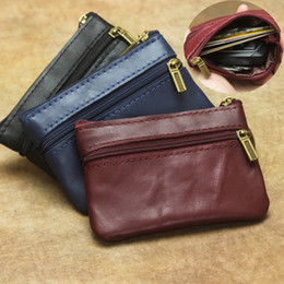 wholesale plain purses Australia - New Genuine Cow Leather Mini Zipper Coin Purses Pouches Plain Color Zip Clutch Wallets Women Card Wallet Interior Keychain Holder Pocket