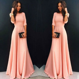 $enCountryForm.capitalKeyWord Australia - Long Womens Chiffon Long Sleeve Evening Formal Party Prom Ball Gown Maxi Dress Women Long Sleeve Dress Pink Black Blue designer clothes