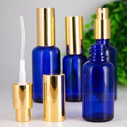 Perfume Bottles Pumps NZ - Portable Glass Spray Bottle Empty Blue Refillable Perfume Bottles 30ml 50ml 100ml with Gold Cap Mist Pump Spray