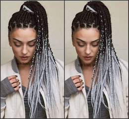 Grey lace front online shopping - Top Quality Free Part Dark Roots Ombre Grey Braided Synthetic Lace Front Wigs Heat Resistant Density Braiding Long Wigs for Women