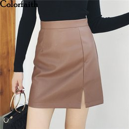 faux leather skater skirt UK - wholesale 2019 Women PU Leather Mini Skirt Autumn Spring Vintage Pencil Fashion High Waist Slit Skater Skirt Femininas SK7731