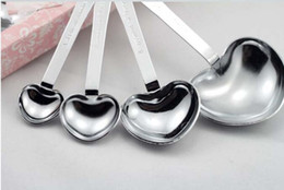 wedding spoons NZ - Wedding Love Wedding Favors of Simply Elegant Heart Shaped Stainless Steel Measuring Spoon 4pcs set Gift Box