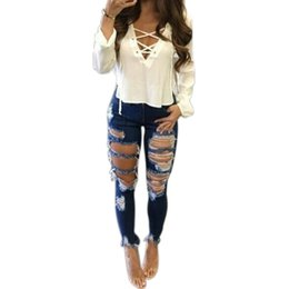 girl rip jeans 2019 - Hole Ripped Jeans Women Pants Cool Denim Vintage Pencil Jeans for Girl Mid Waist Casual Pants Female Summer Style #24016