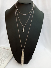 $enCountryForm.capitalKeyWord Australia - cecmic 3 layered long necklaces necklace with cross pendant long silver chains 2019 fashion design pop style