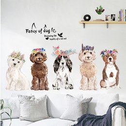 Discount dog wall stickers for bedrooms - animal dog Wall Sticker Removable Double Sided Visual Pattern Home Decoration House Wallpaper free shipping wn635