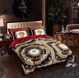 TexTile prinTing designs online shopping - Black V Goddess Bedding Sets Suit New Noble Design Golden Print Duvet Cover Set Flower Complex Patterns Bedding Suit Home Textiles