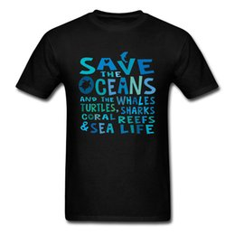 Discount dolphin shirts top - Turtle Dolphin Wave Letter Print Tops T Shirt Save the Oceans Weather Sea Life Men's Summer Autumn Top T-shirts Dro