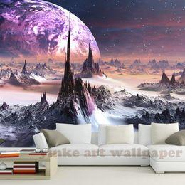 Fantasy Backdrops Australia - custom stereoscopic 3D wallpaper fantasy Universe star sky mountains 3d wall paper TV backdrop papel de parede para quarto