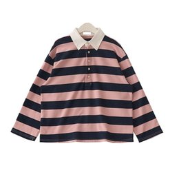 Discount striped shirts for women - 2019 New Spring Fashion Korean T-Shirt Women Lapel Striped Long Sleeve Loose Casual Top Tees For Female
