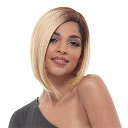 $enCountryForm.capitalKeyWord Australia - Hot selling fashion short hair wig 12 inch blonde ombre color straight Bob wigs 100% synthetic hair with weaving cap free shipping