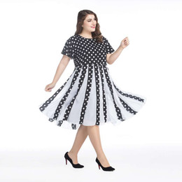 Wholesale retro plus size polka dot dress resale online - European and American Plus Size Retro s Hepburn Evening Dress Black and White Chiffon Big Size Polka dot Women Dress Short Sleeves