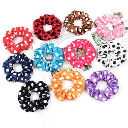 vintage flower wholesale headbands Canada - Vintage Scrunchie Stretch Headband Dot Scrunchies Women Wave point Flower Elastic Hair Bands Girls Hair Ties Hair Accessories 50pcs 1016A
