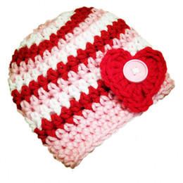 winter beanies UK - Crochet Baby Valentine Day Hat,Handmade Knit Crochet Baby Boy Girl Striped Beanie with Heart,Infant Spring Winter Cap,Newborn Photo Prop