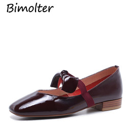 Red Mary Jane Flats Australia - Bimolter Patent Leather Fashion Bow-Knot Summer Flats Women Square Toe Mary Jane Elastic Band Shoes Female Wine Red Size40 FC127