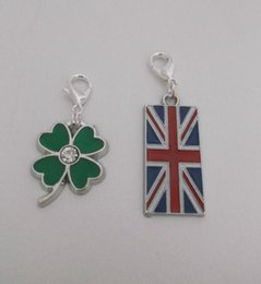 $enCountryForm.capitalKeyWord Australia - Vintage Silver Clip On Dangle Enamel Four Leaf Clover Union Jack Flag Charms Pendant For Women Jewelry Lucky Gift Making Bracelet NEW