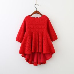 China Red and black Lace Long Sleeve Princess Party A-line Kid Dresses For Baby Girls 2018 Spring Children Clothing wholesale kids Clothing BY0694 supplier princess style long dress for child suppliers