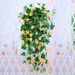hanging basket fake plants Australia - Morning Glory Hanging Plants Silk Garland Fake Green Plant Home Garden Wall Fence Stairway Outdoor Wedding Hanging Baskets Decor