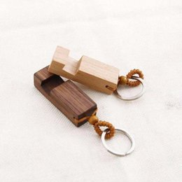 wooden cell phone holders Australia - Wood Keychain Phone Holder Rectangle Wooden Key Ring Cell Phone Stand Base Best Gift Key Chain 2colors RRA2188
