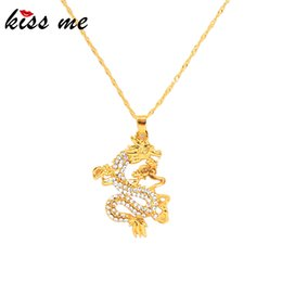 dragon pendant necklaces fashion jewelry NZ - kissme Chinese Traditional Totem Dragon Pendant Necklace For Women Gift Crystal Gold Color Alloy Necklace Fashion Jewelry