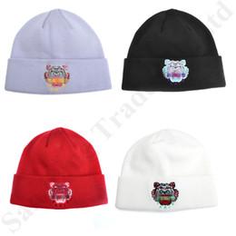 $enCountryForm.capitalKeyWord Australia - Unisex Tiger Head Knitted Beanie Cap Winter Hats Luxury Designer Cotton Embroidered Knitting Cap Fashion Skull Caps Hat for Men Women C81903