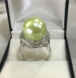 shipping free china ring pearl NZ - Jewelryr Jade Ring New fashon lady's exquisite silver plated inlay crystal 14mm grass green shell pearl ring SIZE 7 8 9 10 Free Shipping