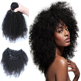 african american hair extensions 2019 - african american virgin mongolian afro kinky curly clip in hair extensions clip in human hair extensions 100g cheap huma