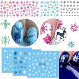 pattern decor Australia - 1 Sheet Christmas Snowflake Elk Pattern Nail Art Water Transfer Decals Xmas Nail Stickers Tips Christmas New Year Art Decor