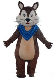 China Discount factory sale a brown adult squirrel mascot costume with a blue scarf for adult to wear suppliers