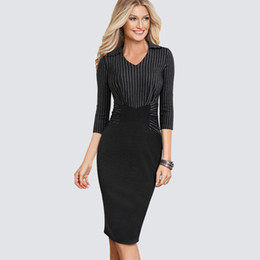 e475d9ed514 Women Fashion Apparel Work Office Casual Dress Vintage Striped One-piece  Sheath Bodycon Career Pencil Church Dress HB479