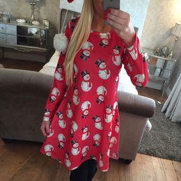 Winter Snow Suits Australia - Fairy2019 And Autumn Winter Christmas Suit-dress Snowman Snow Printing Dress