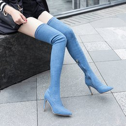 $enCountryForm.capitalKeyWord Australia - Women Casual Over the Knee boots shoes Winter women Pointed Toe Pumps Blue high heels pumps dress Denim Warm Snow Boots mujer