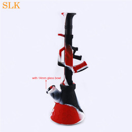 gun water bong NZ - Cool dab rigs AK47 Gun rifle shape glass water bongs unbreakable dry herb smoking pipes silicon dab rigs with 14mm joint