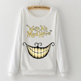 Flannel Sweatshirts Australia - Fashion Alice In Wonderland Cheshire Cat Mike Harajuku Winter Flannel Full Sleeve Pullovers Tops Woman Hoodies Sweatshirts