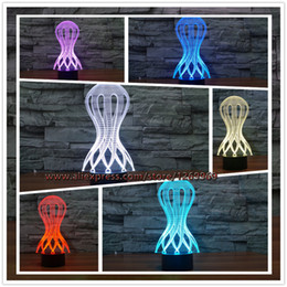 Discount toys change shape - 2017 New Jellyfish Hourglass Shape 3D USB LED Lamp Fashion 7 Colors Change Table Night Light Child Illusion Decor gift k