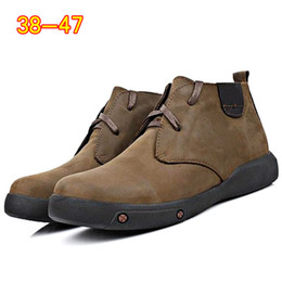 $enCountryForm.capitalKeyWord Australia - High Quality Vintage Genuine Leather Men Boots Winter Ankle Boots Warm Fur Lace Up High Top Fashion Men Shoes moccasin boots 2a