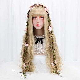 "China 32"" Cosplay Blonde Wig With Bangs Long Wave Synthetic Hair Custom Party Cosplay Lolita Wigs For Black White Women Heat Resistant supplier custom blonde hair suppliers"