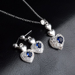 blue diamond wedding necklace Australia - Women Heart Zircon Jewelry Sets 925 Sterling Silver Plated Fashion Blue Crystal Diamond Stud Earrings Necklace with Link Chain Wedding Gifts