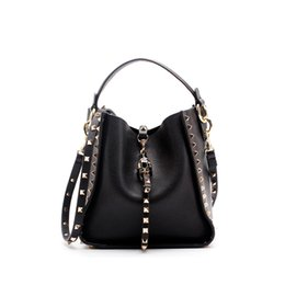 Red Stud Handbags Australia - New 2019 Designer Classic Tote Small Bucket With Studs Women Split Leather Handbags Ladies Messenger Bags For Female An886