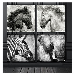 $enCountryForm.capitalKeyWord Australia - Black and White Elephant Horse Zebra,Full square round Diamond Painting 5D Diy Diamond picture of Rhinestones painting 4pcs set