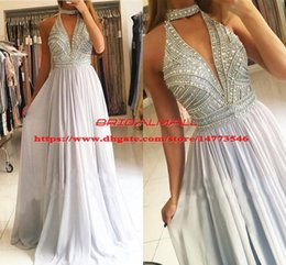 White classic graduation dress online shopping - Beaded Crystal Silver Chiffon Prom Dresses Keyhole Neck Formal Party Gowns Cheap Long Evening Dress Graduation Custom Robe de soirée